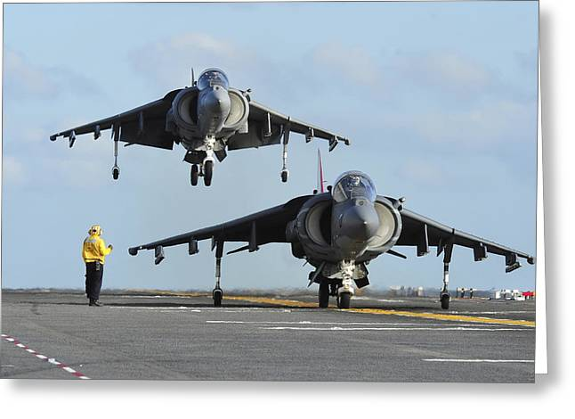 Amphibious Assault Ships Greeting Cards - An Av-8b Harrier Prepares For Takeoff Greeting Card by Stocktrek Images