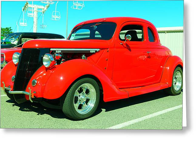 An Awesome Red Hot Rod Greeting Card