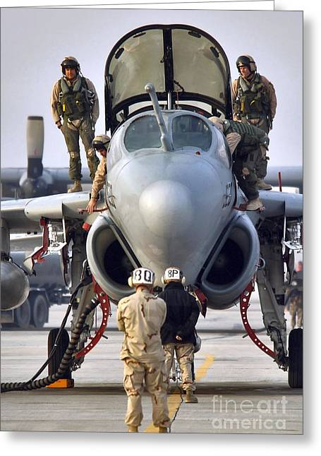 An Ea-6b Prowler Is Prepared For Launch Greeting Card by Stocktrek Images