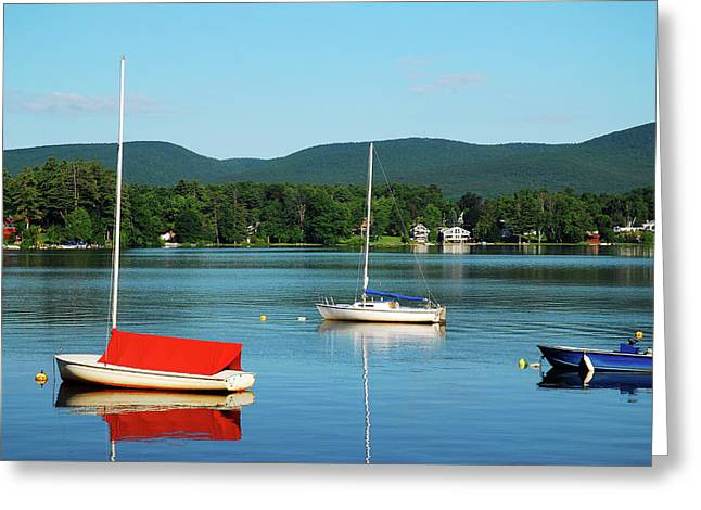 An Early Calm On A Berkshire Lake Greeting Card by James Kirkikis