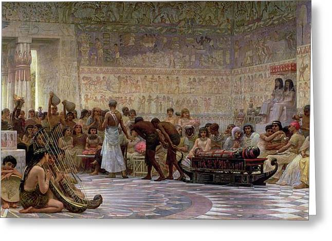 Pulling Greeting Cards - An Egyptian Feast Greeting Card by Edwin Longsden Long