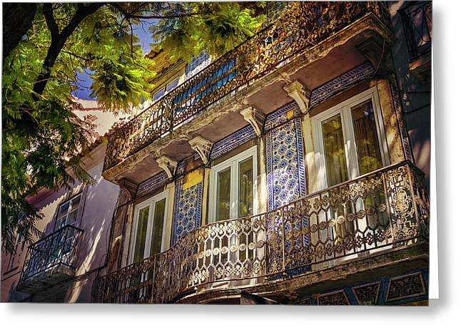 An Elegant Balcony In Lisbon Portugal  Greeting Card