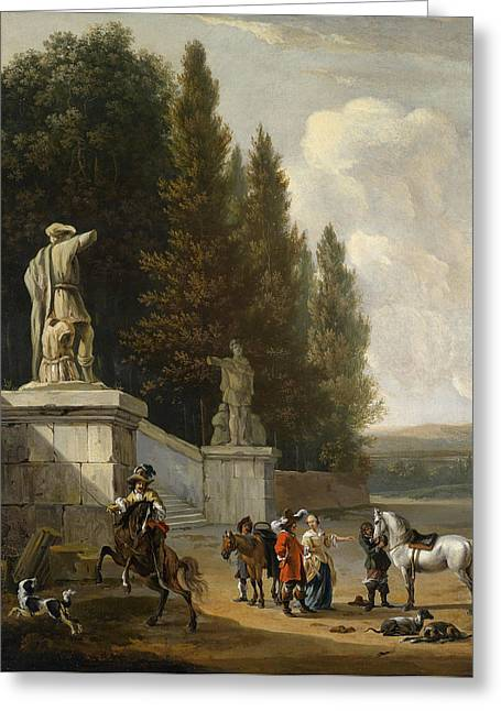 An Elegant Park With Aufbrechender Hunting Party Greeting Card by Celestial Images