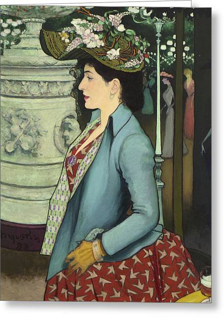 An Elegant Woman At The Elysee Montmartre Greeting Card by Louis Anquetin