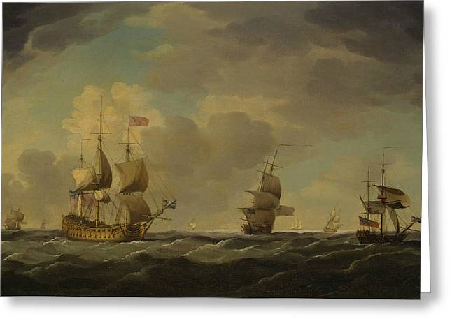 An English Flagship Under Easy Sail In A Moderate Breeze Greeting Card by Charles Brooking