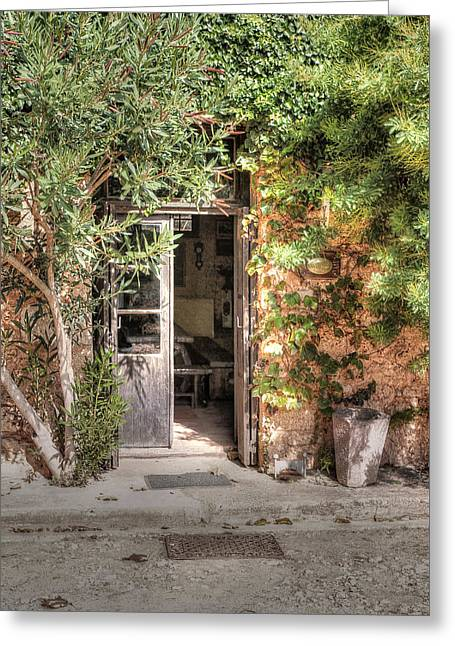 Greeting Card featuring the photograph An Entrance In Santorini by Tom Prendergast
