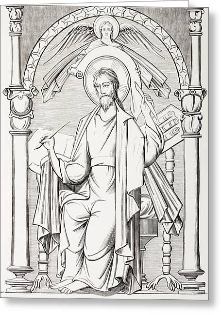 An Evangelist Writes A Sacred Text And Greeting Card by Vintage Design Pics
