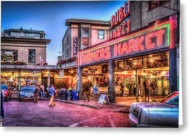 An Evening At Pike Place Market Greeting Card by Spencer McDonald