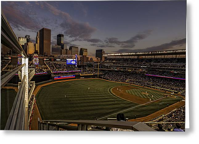 An Evening At Target Field Greeting Card by Tom Gort