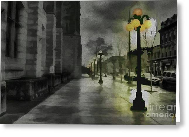 Greeting Card featuring the mixed media An Evening In Paris by Jim  Hatch