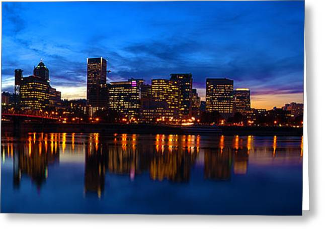 An Evening In Portland Greeting Card by Brian Bonham