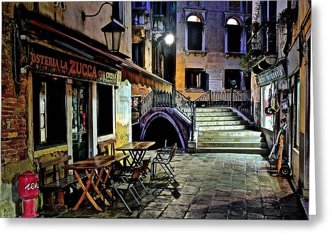 Evening Falls Upon Venice Greeting Card by Frozen in Time Fine Art Photography