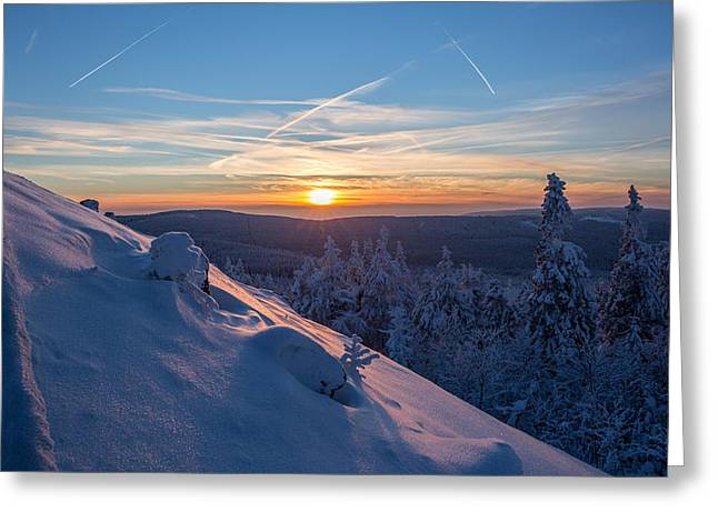 an evening on the Achtermann, Harz Greeting Card