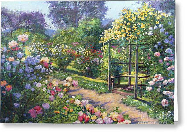 Evening Lights Paintings Greeting Cards - An Evening Rose Garden Greeting Card by David Lloyd Glover