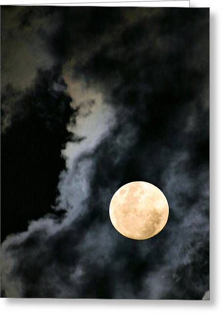 An Evil Face In The Clouds Greeting Card by Kristin Elmquist