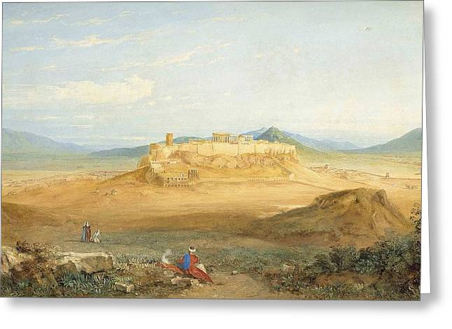 An Extensive View Of The Acropolis And Athens Greeting Card