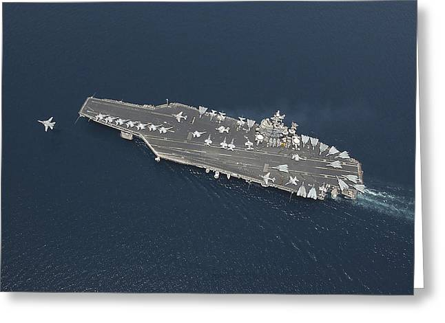 Carrier Greeting Cards - An F-14b Tomcat Launches Off Uss George Greeting Card by Stocktrek Images