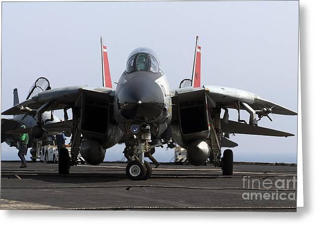 An F-14d Tomcat On The Flight Deck Greeting Card by Gert Kromhout