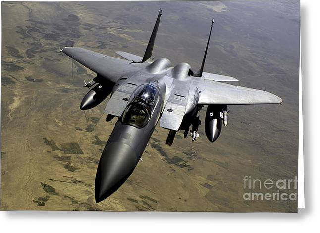 An F-15e Strike Eagle Aircraft Greeting Card by Stocktrek Images