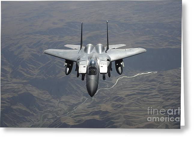 An F-15e Strike Eagle Flies Watch Greeting Card by Stocktrek Images