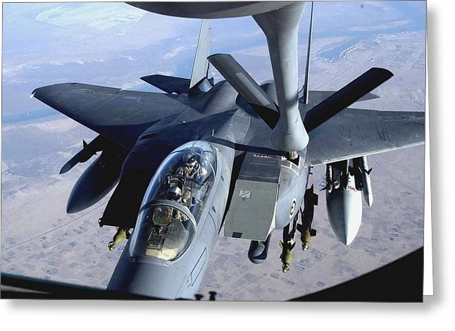 Iraq Greeting Cards - An F-15e Strike Eagle Refuels Over Iraq Greeting Card by Stocktrek Images