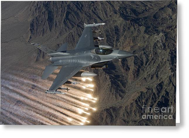 An F-16 Fighting Falcon Releases Flares Greeting Card by HIGH-G Productions