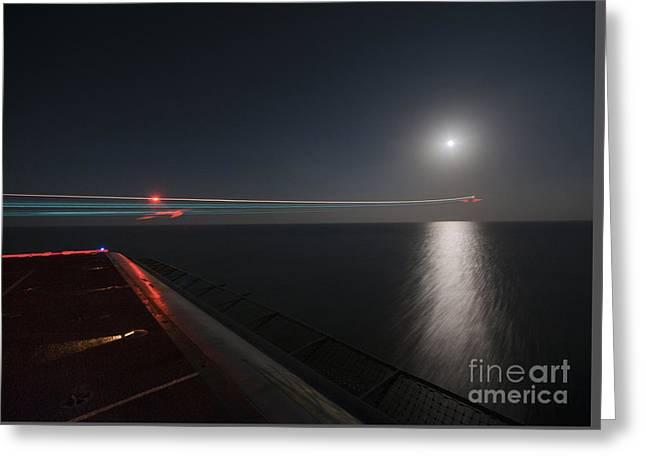 An F A-18 Hornet Launches. Greeting Card by Celestial Images