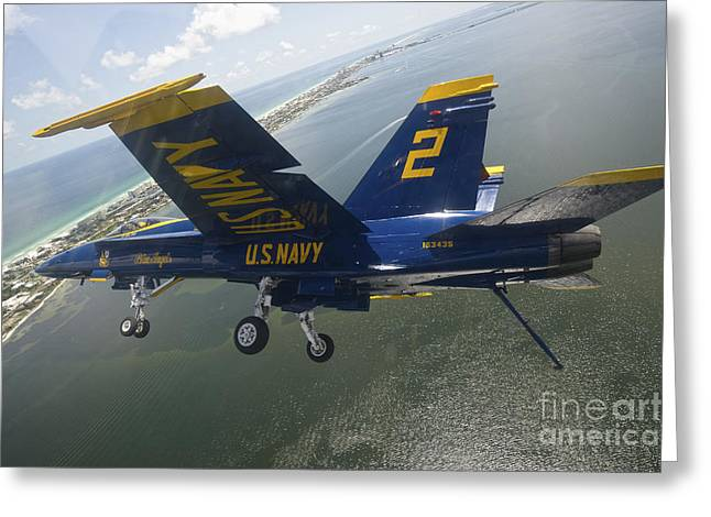 An Fa-18 Hornet Of The Blue Angels Greeting Card by Stocktrek Images