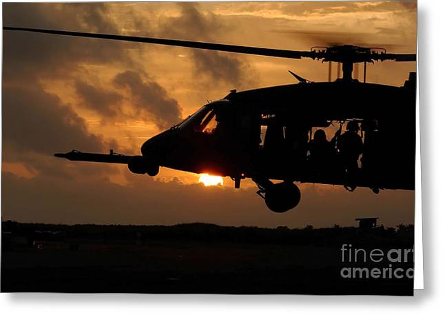 An Hh-60g Pave Hawk Helicopter Prepares Greeting Card by Stocktrek Images