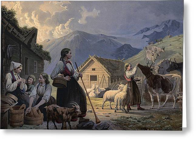 An Idealized Depiction Of Girl Cow Greeting Card by Knud Bergslien
