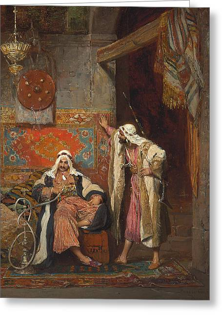 An Idle Conversation, 1872 Greeting Card by Arnold Corrodi