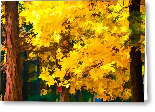 An Image Of A Tree With Bright Yellow Leaves Greeting Card by Lanjee Chee