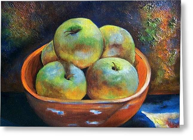 An Impression Of Apples  Greeting Card by Susan Dehlinger