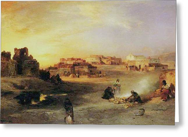 Pueblo Architecture Greeting Cards - An Indian Pueblo Greeting Card by Thomas Moran