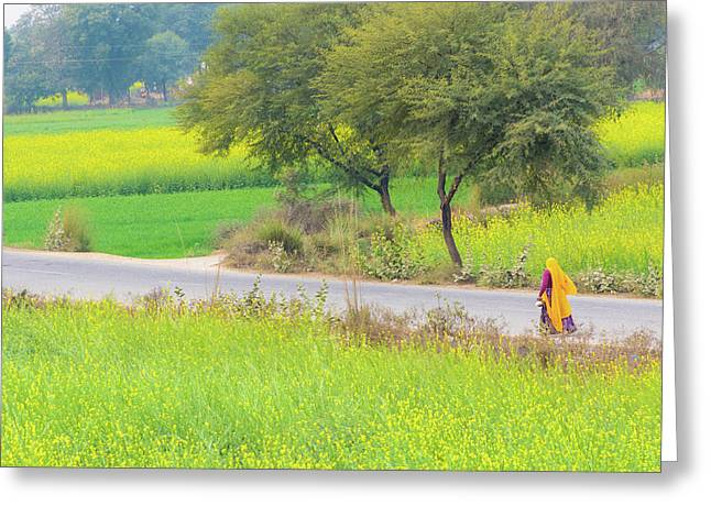 An Indian Village Woman On A Road Greeting Card