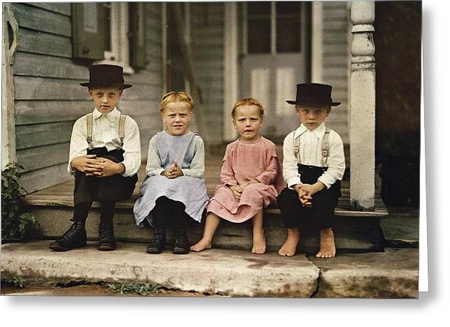 Caucasian Appearance Greeting Cards - An Informal Group Portrait Of Amish Greeting Card by J. Baylor Roberts