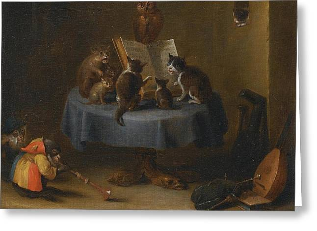 An Interior Scene With Cats Greeting Card by David Teniers