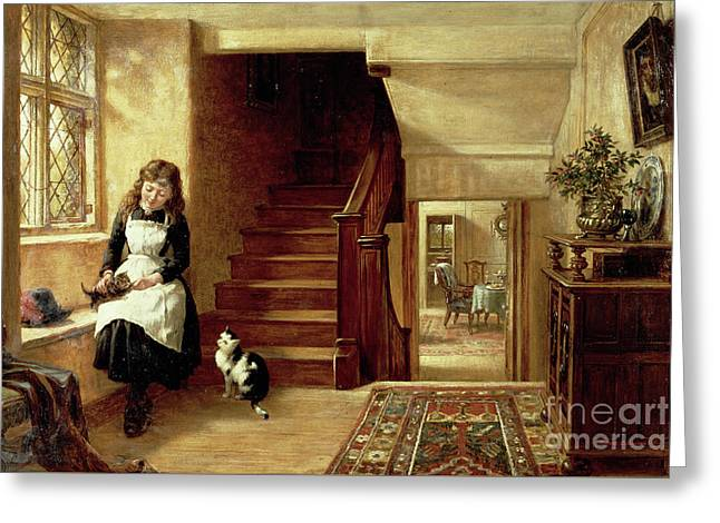 An Interior With A Girl Playing With Cats  Greeting Card