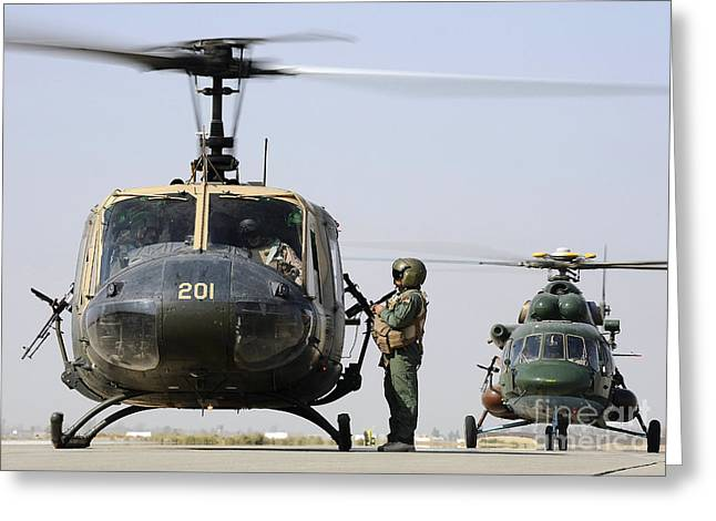 An Iraqi Uh-1h Iroquois Helicopter Greeting Card by Stocktrek Images