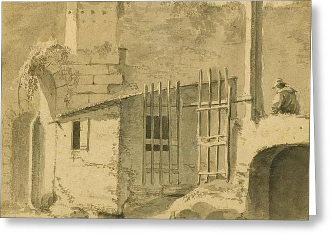 An Italian Courtyard With A Gateway And Seated Figure Greeting Card