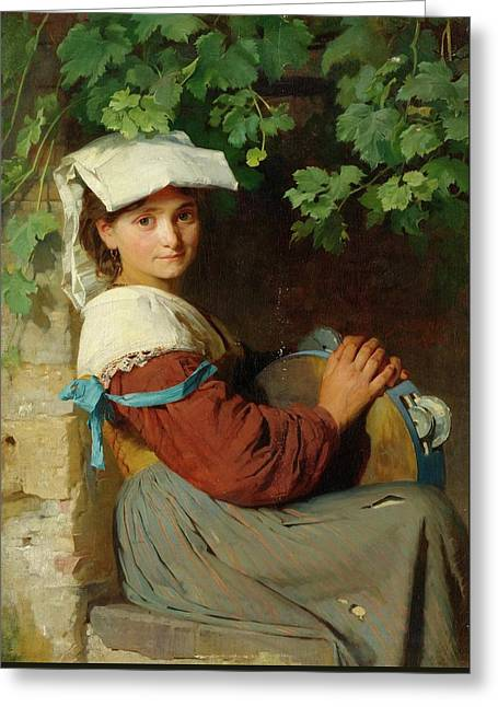 An Italian Woman With A Tambourine At A Window Greeting Card by MotionAge Designs
