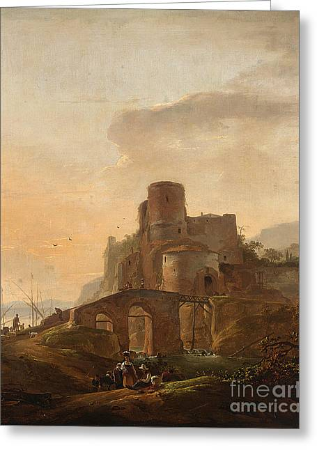 An Italianate Landscape With A Bridge Greeting Card