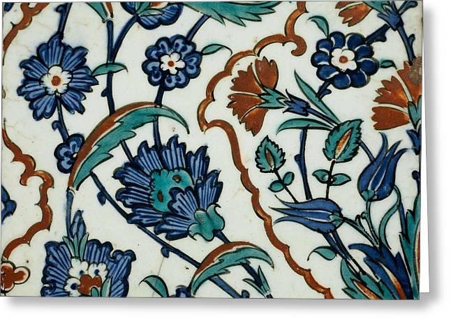 An Iznik Polychrome Tile, Turkey, Circa 1575, By Adam Asar, No 29 Greeting Card