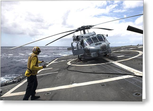 an MH-60R Sea Hawk helicopter Greeting Card by Celestial Images