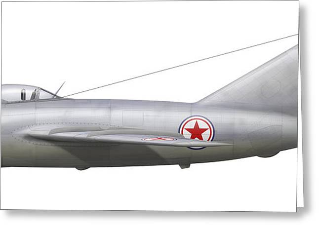 An Mig-15bis Of The North Korean Air Greeting Card by Chris Sandham-Bailey