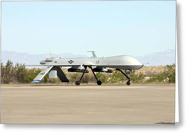 An Mq-1 Predator Taxis To The Runway Greeting Card by HIGH-G Productions