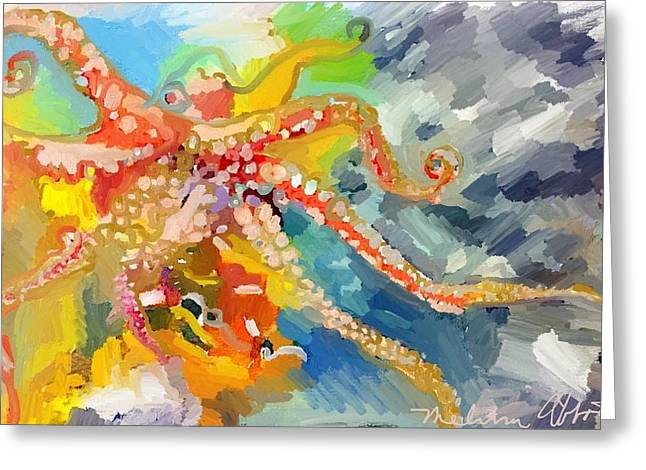 An Octopus Lunch Inspired This Painting Of An Octopus  Greeting Card