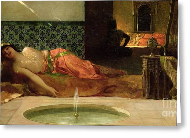 Odalisque Greeting Cards - An Odalisque in a Harem Greeting Card by Benjamin Constant