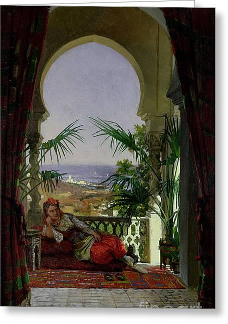 An Odalisque On A Terrace Greeting Card by David Emil Joseph de Noter