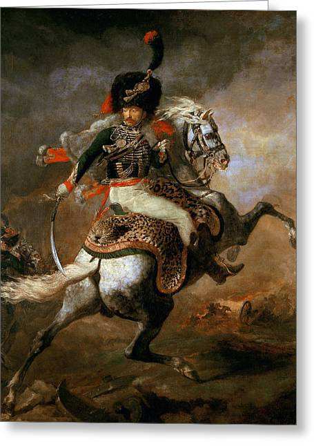 An Officer Of The Imperial Horse Guards Charging Greeting Card